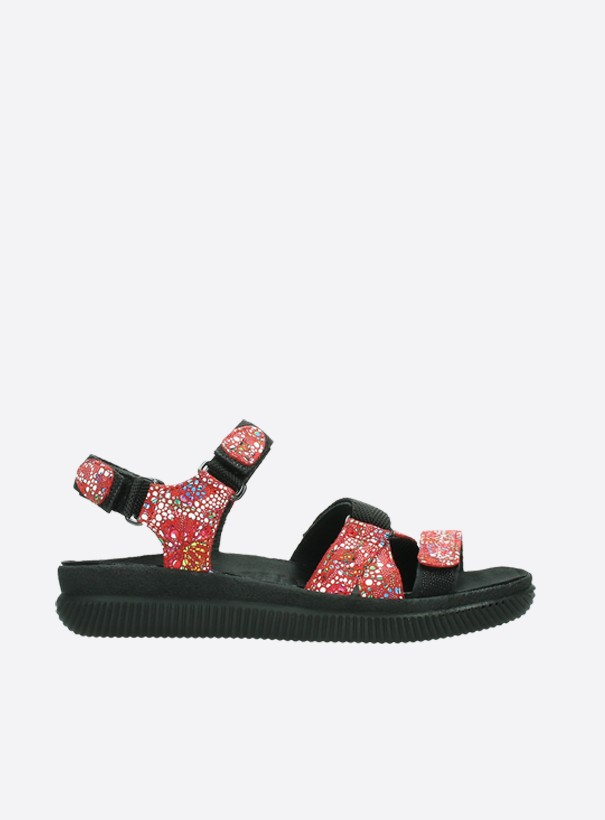 wolky sandalen 00720 action lady 42500 rood mosaic suede