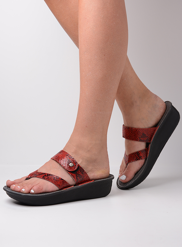 wolky slippers 00877 martinique 98500 rood snake print leer sfeer