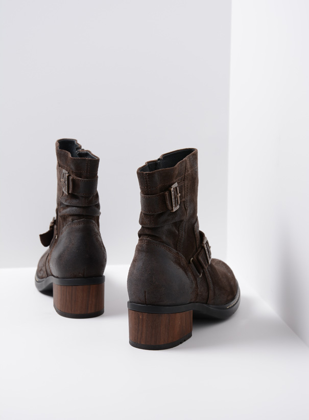wolky biker boots 01265 raymore 45305 donker bruin suede back