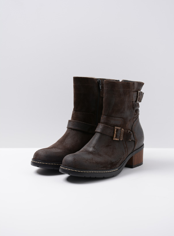 wolky biker boots 01265 raymore 45305 donker bruin suede front