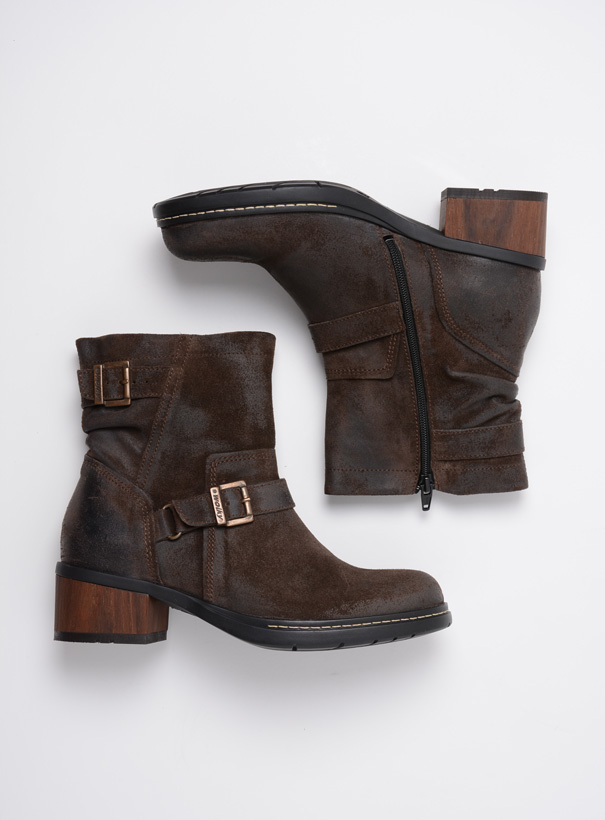 wolky biker boots 01265 raymore 45305 donker bruin suede top