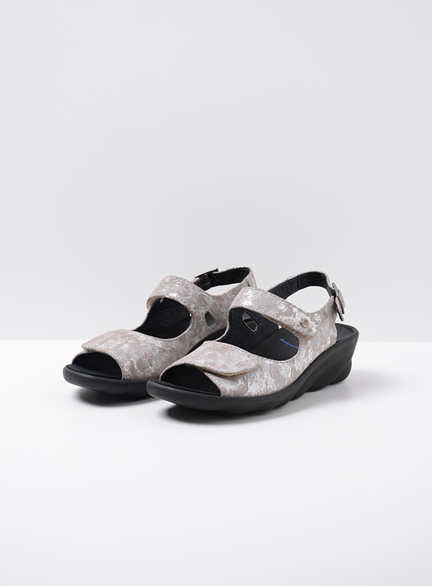 wolky sandalen 03125 scala 48150 taupe geprint suede front