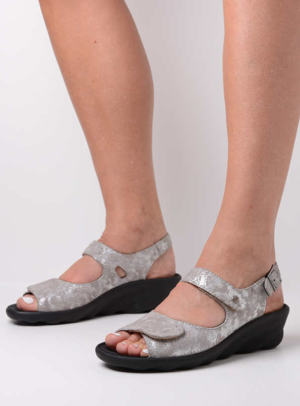 wolky sandalen 03125 scala 48150 taupe geprint suede sfeer