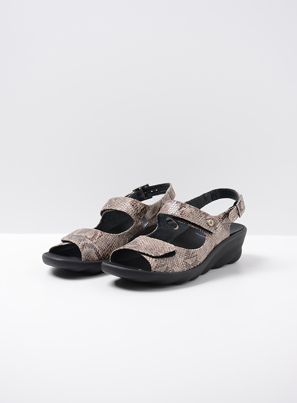 wolky sandalen 03125 scala 98150 taupe snake print leer front