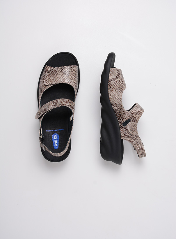 wolky sandalen 03125 scala 98150 taupe snake print leer top